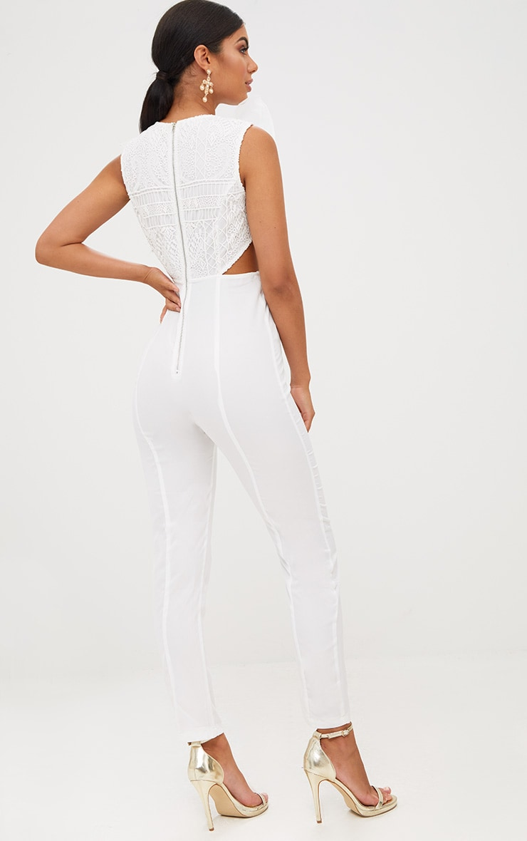 White Mesh Shoulder Cut Out Detail Jumpsuit 2