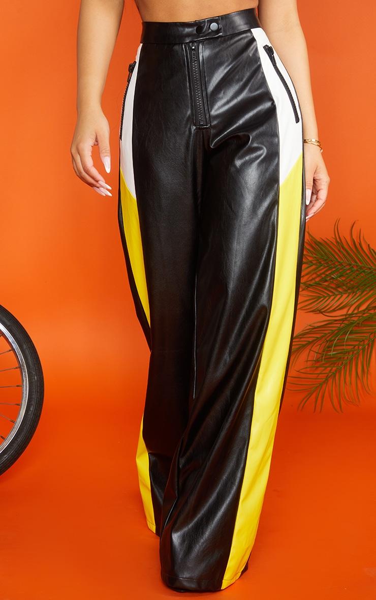 Petite Black PU Stripe Wide Leg Pants 3