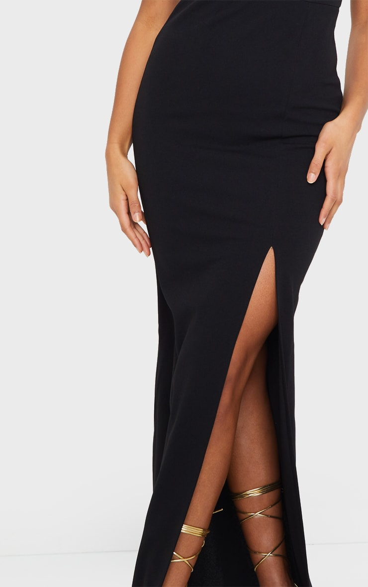 Black V Bar Strappy Maxi Dress 4