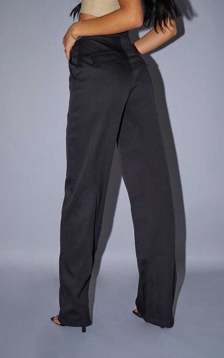Tall Black Pocket Detail High Waisted Wide Leg Trouser 3