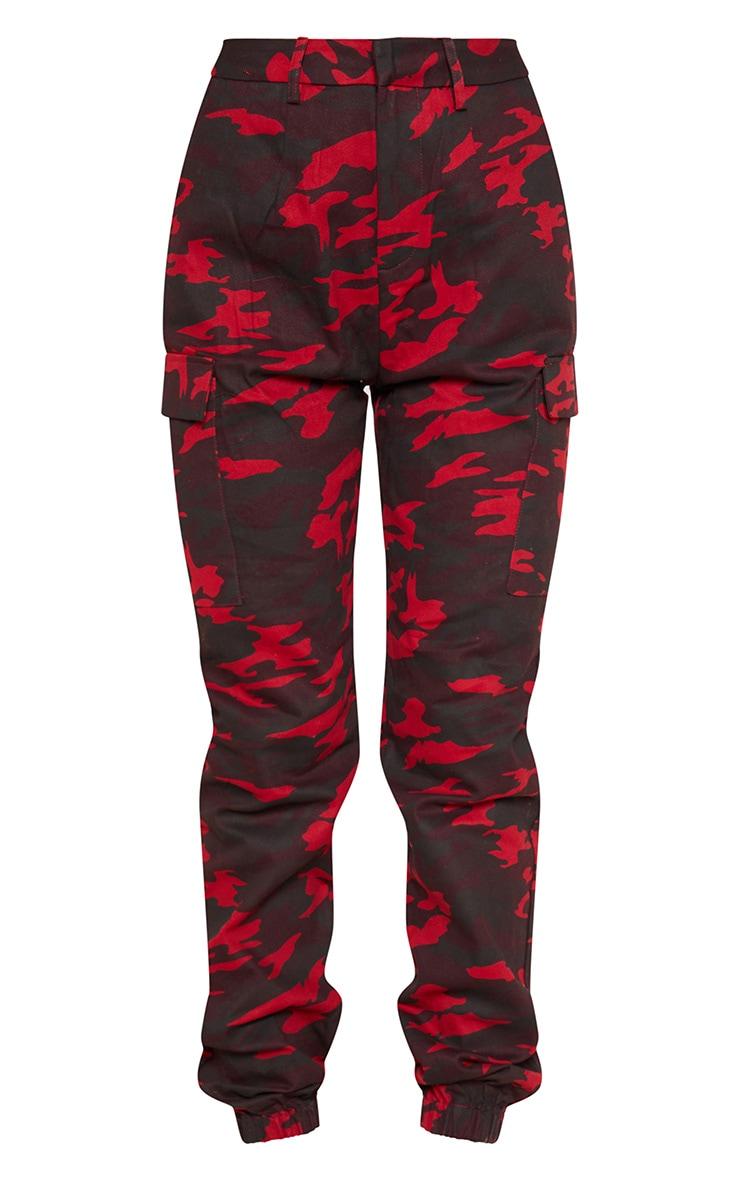 Pantalon cargo bordeaux imprimé camouflage 3