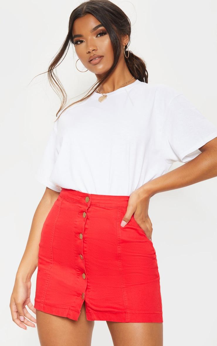 Cammie Red Denim Button Down Mini Skirt 1