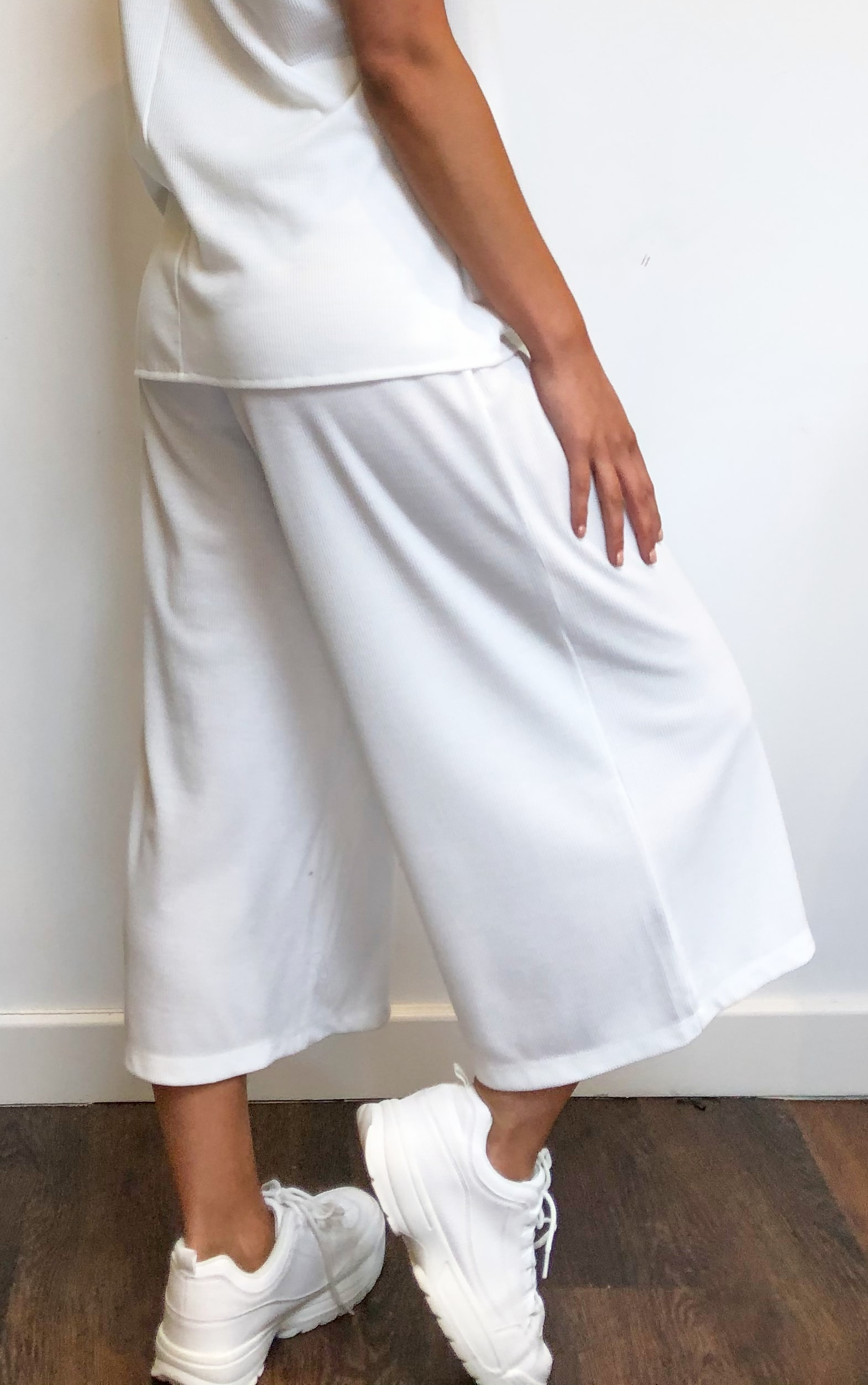 Cream Ribbed High Waist Culottes 3