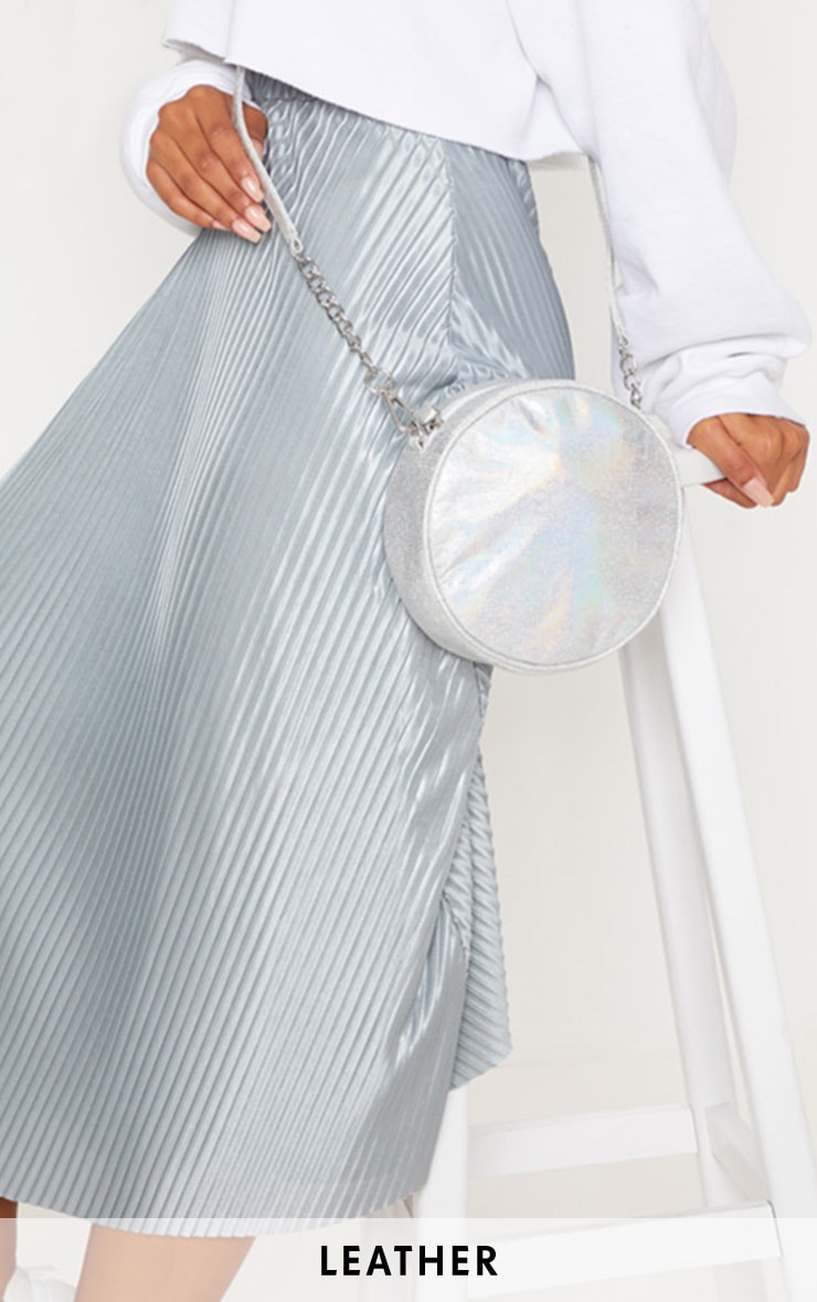 Silver Real Leather Iridescent Round Cross Body Bag