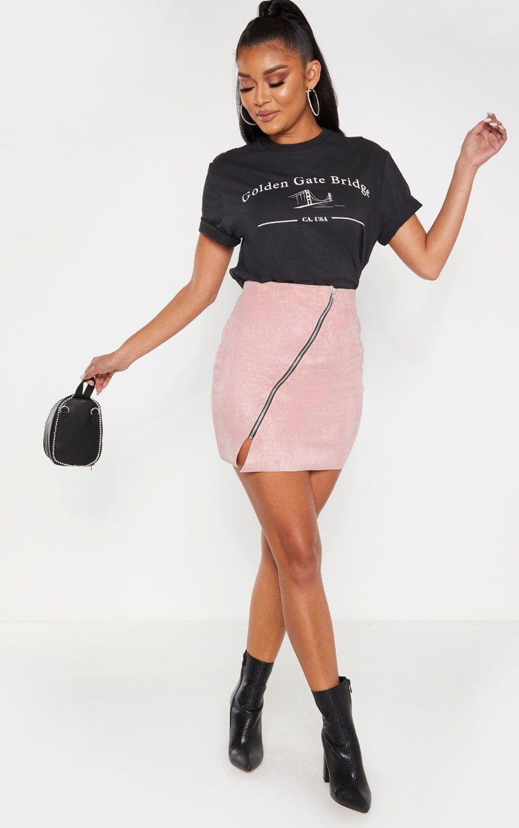 Pink Faux Suede Zip Detail A Line Skirt  5