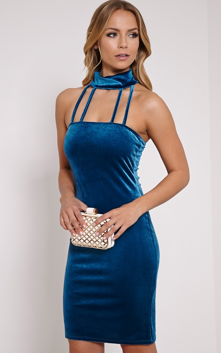 Avayah Turquoise Velvet Mini Dress 4