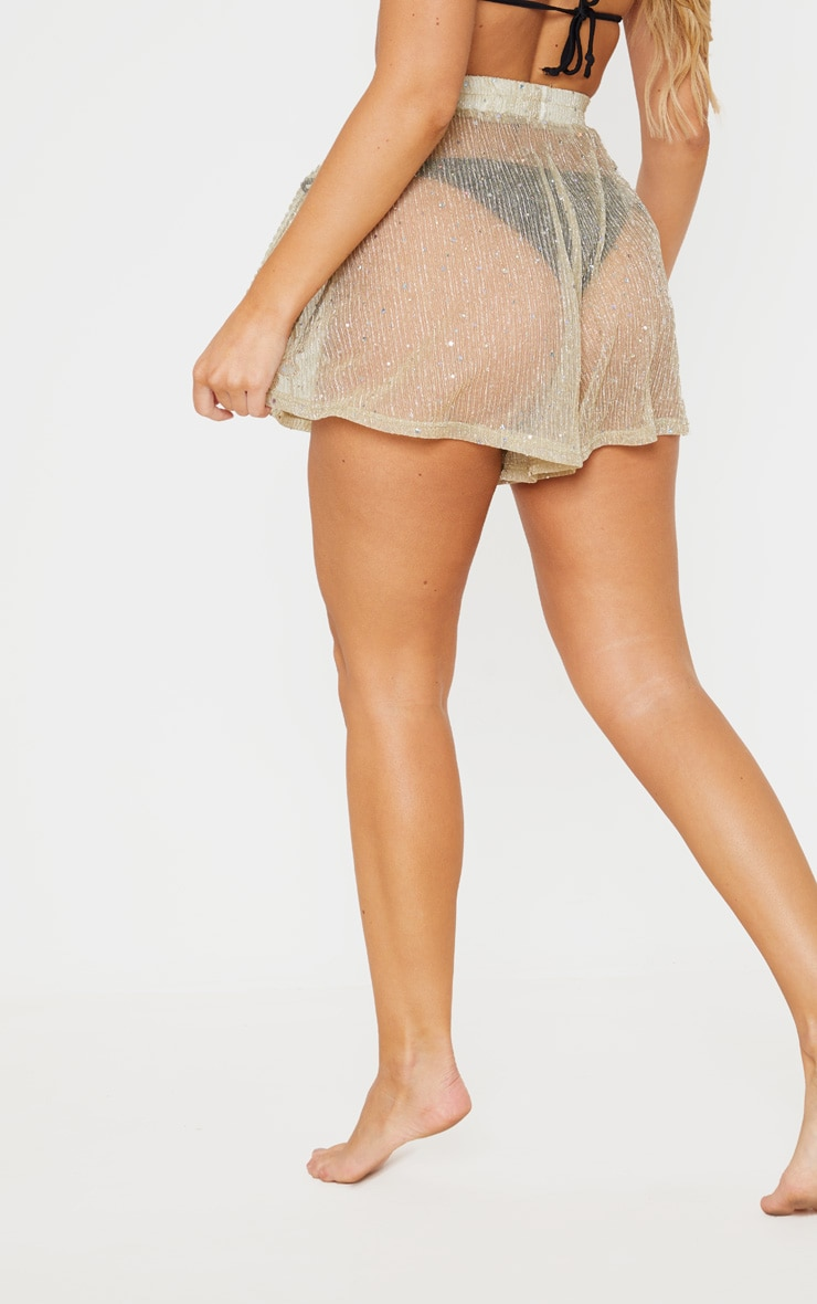 Gold Metallic Plisse Sequin Beach Short 4