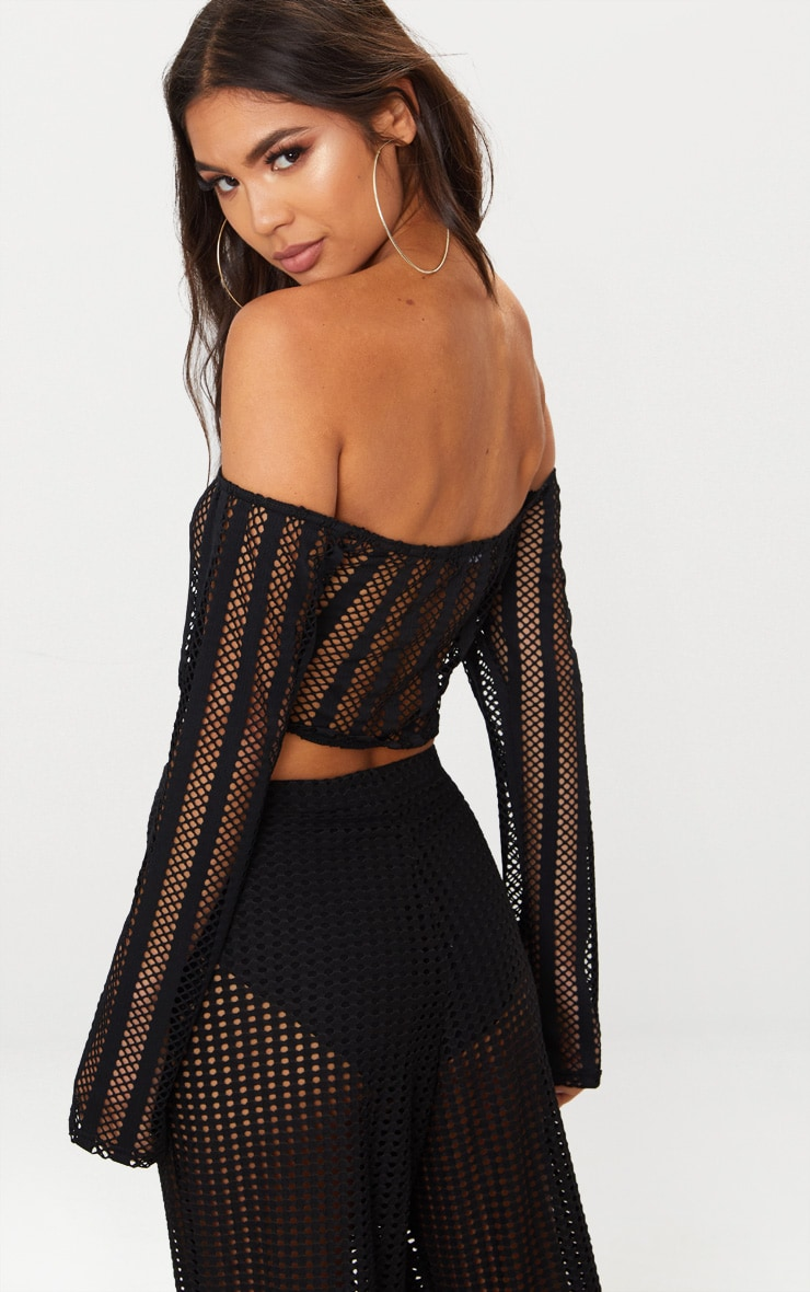 Black Fishnet Bardot Crop Top 2