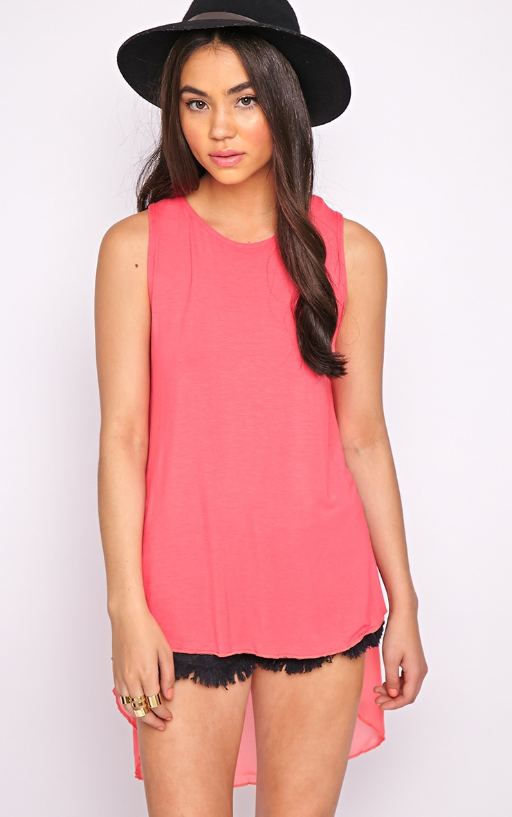 Malikah Fuschia Dip Hem Top With Sheer Back 3