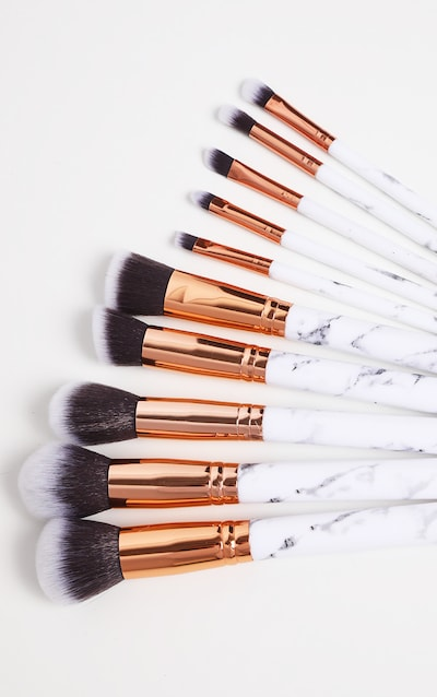 10 Piece White Marble Effect Brush Set