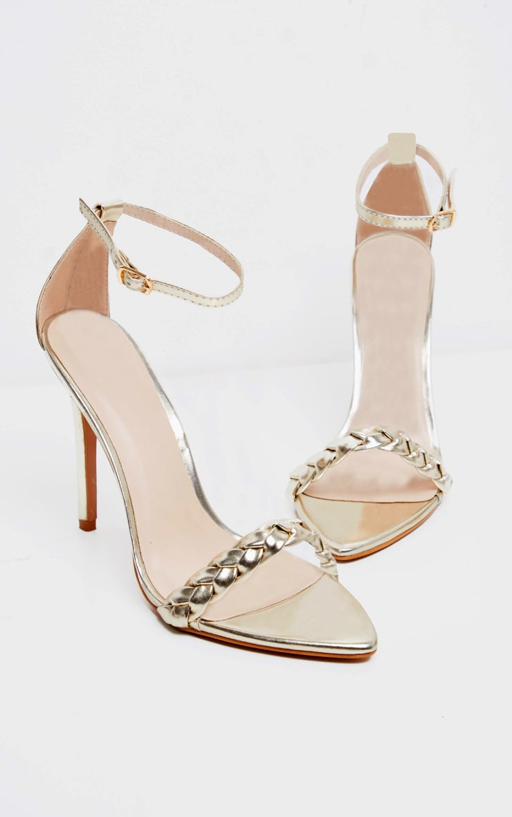 Gold Plaited Strap Point Toe Heeled Sandal 3