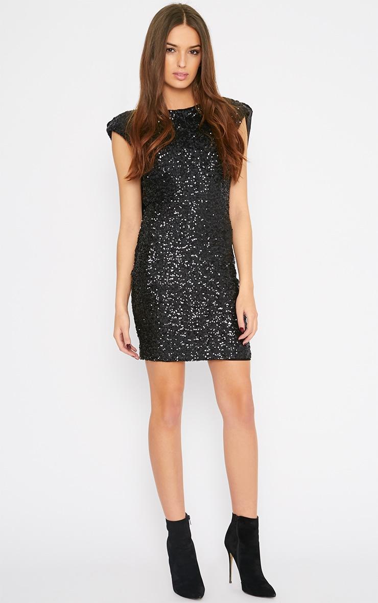 Etta Black Sequin Scoop Back Mini Dress 3