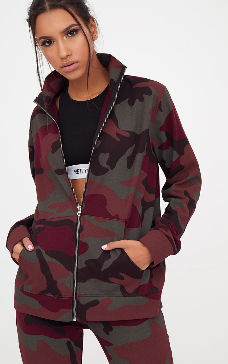 4232e77f05400 Burgundy Camo Oversized Tracksuit Top | PrettyLittleThing USA