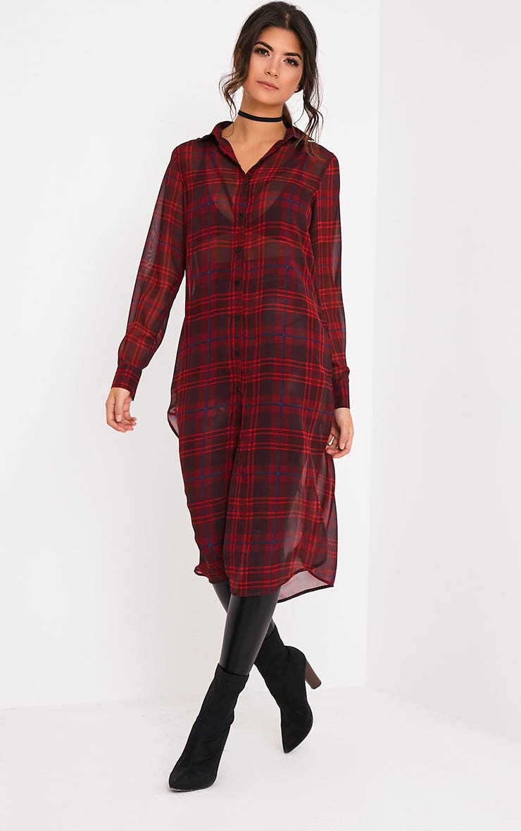 Leonie Red Soft Chiffon Check Longline Shirt 5