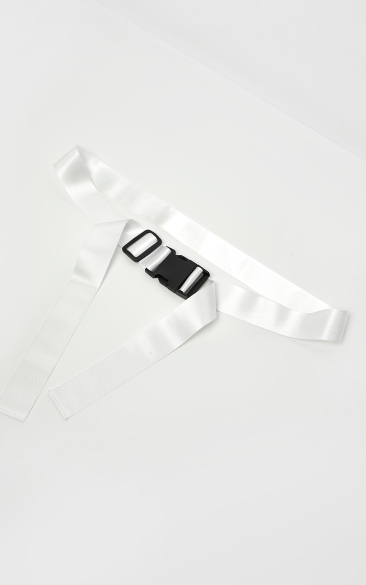 White Buckle Double Tape Belt  2