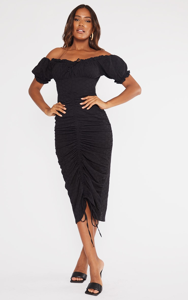 Black Broderie Anglaise Ruched Centre Bardot Midi Dress 1