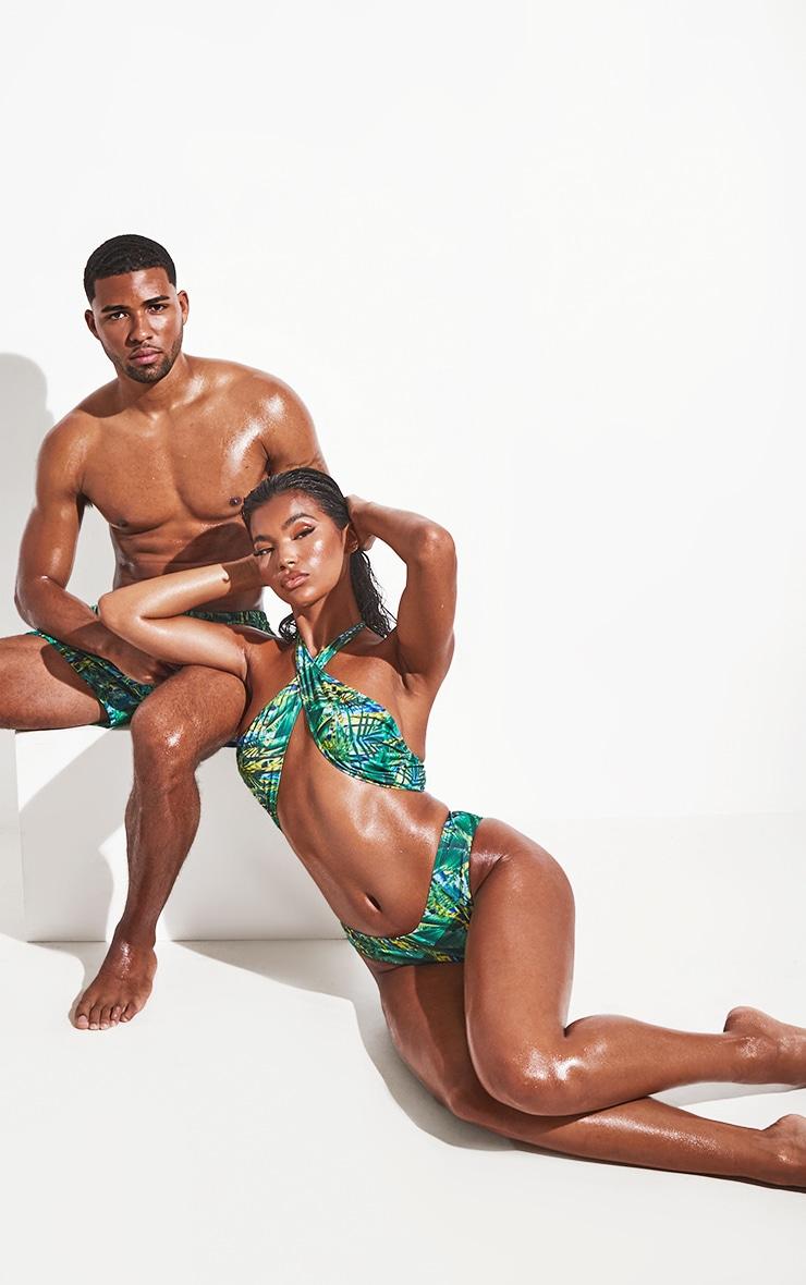 Green Tropical Cross Front Bikini Top 3
