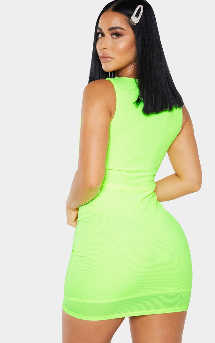 Shape Neon Lime Ribbed Lace Up Bust Bodycon Dress 2