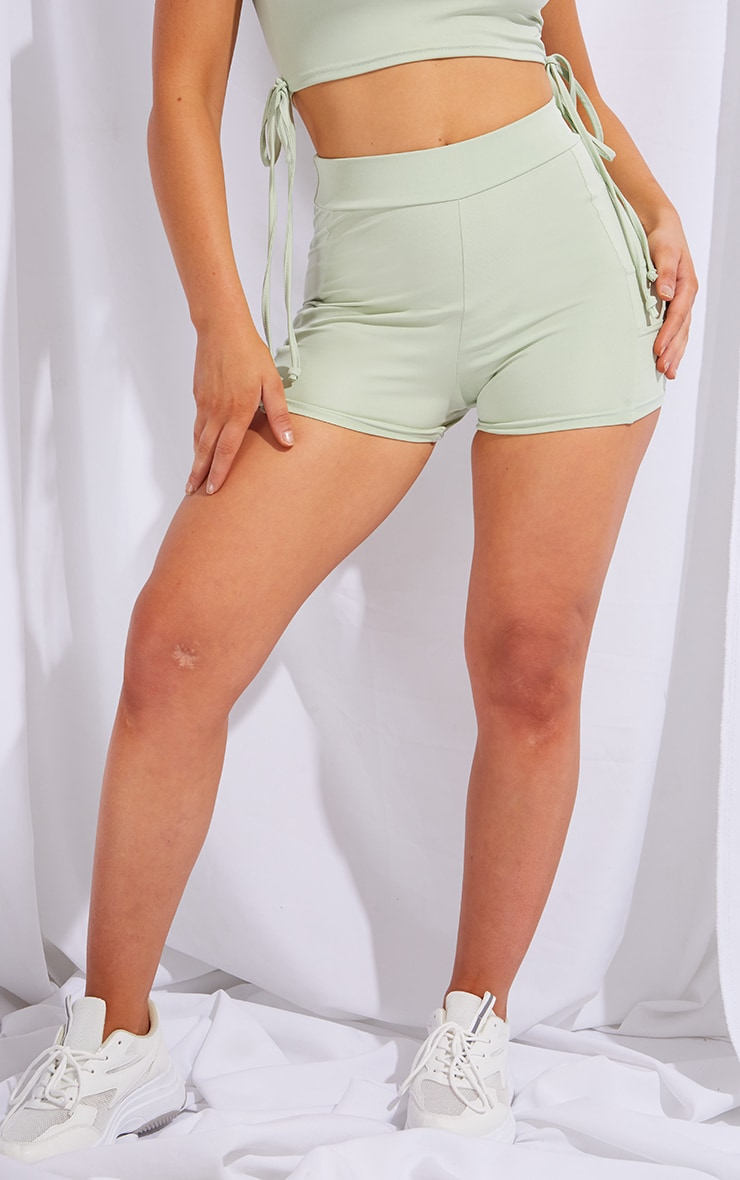 PRETTYLITLETHING Sage Green Sport Panelled Booty Shorts 2