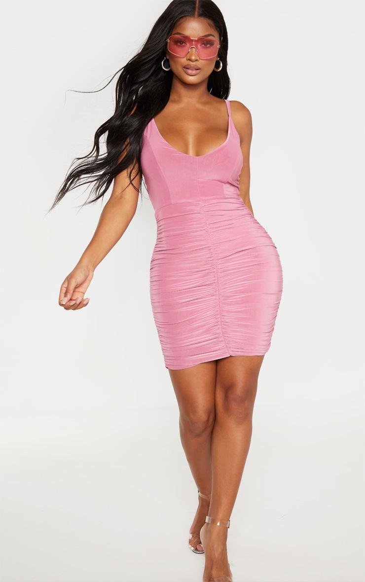 Shape - Mini-robe violet passé froncée à bretelles fines 4