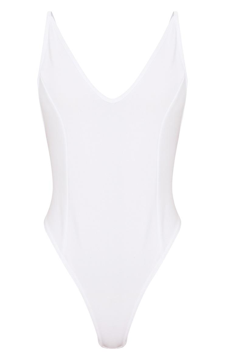 White Crepe Plunge Bodysuit 3