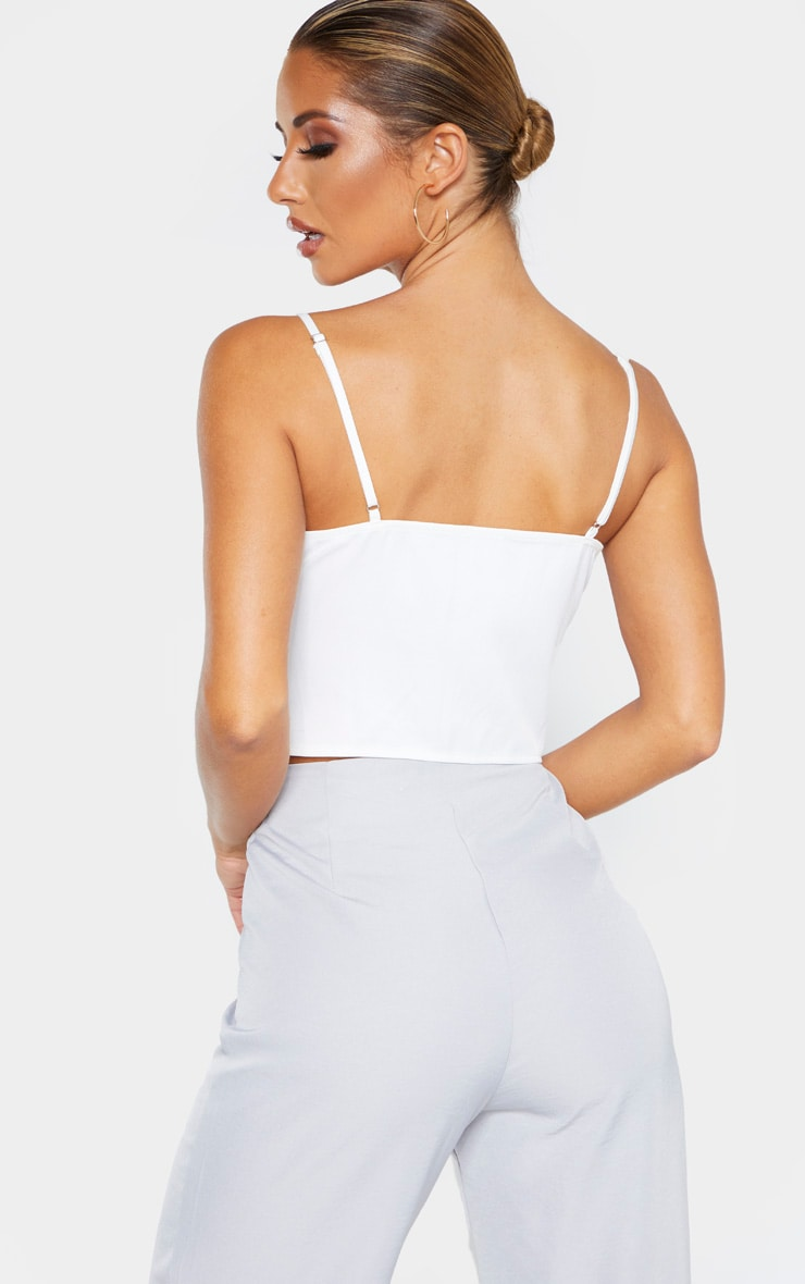 White Woven Bust Detail Zip Front Corset 2