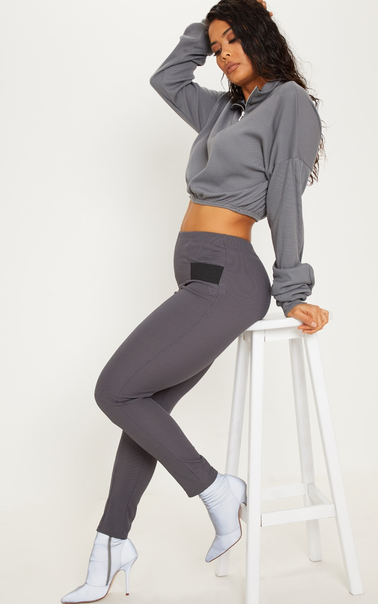 Charcoal Side Elastic Rib Detail Legging