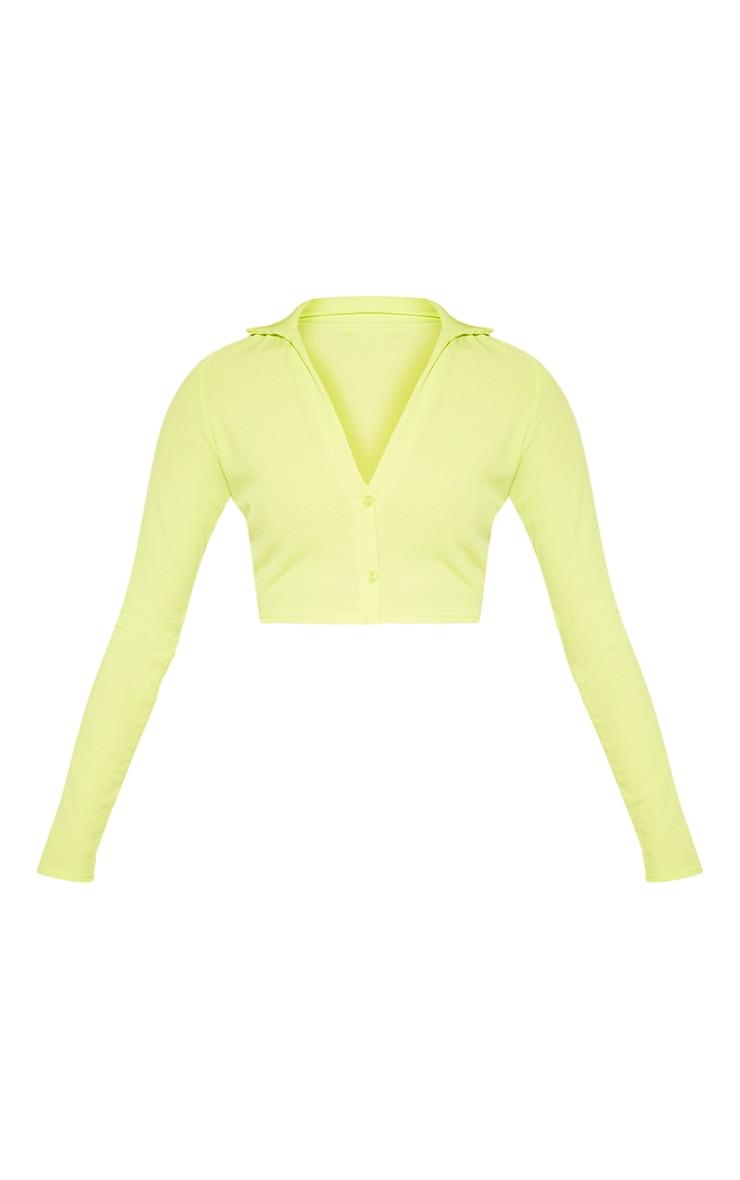 Light Lime Rib Plunge Crop Shirt 3