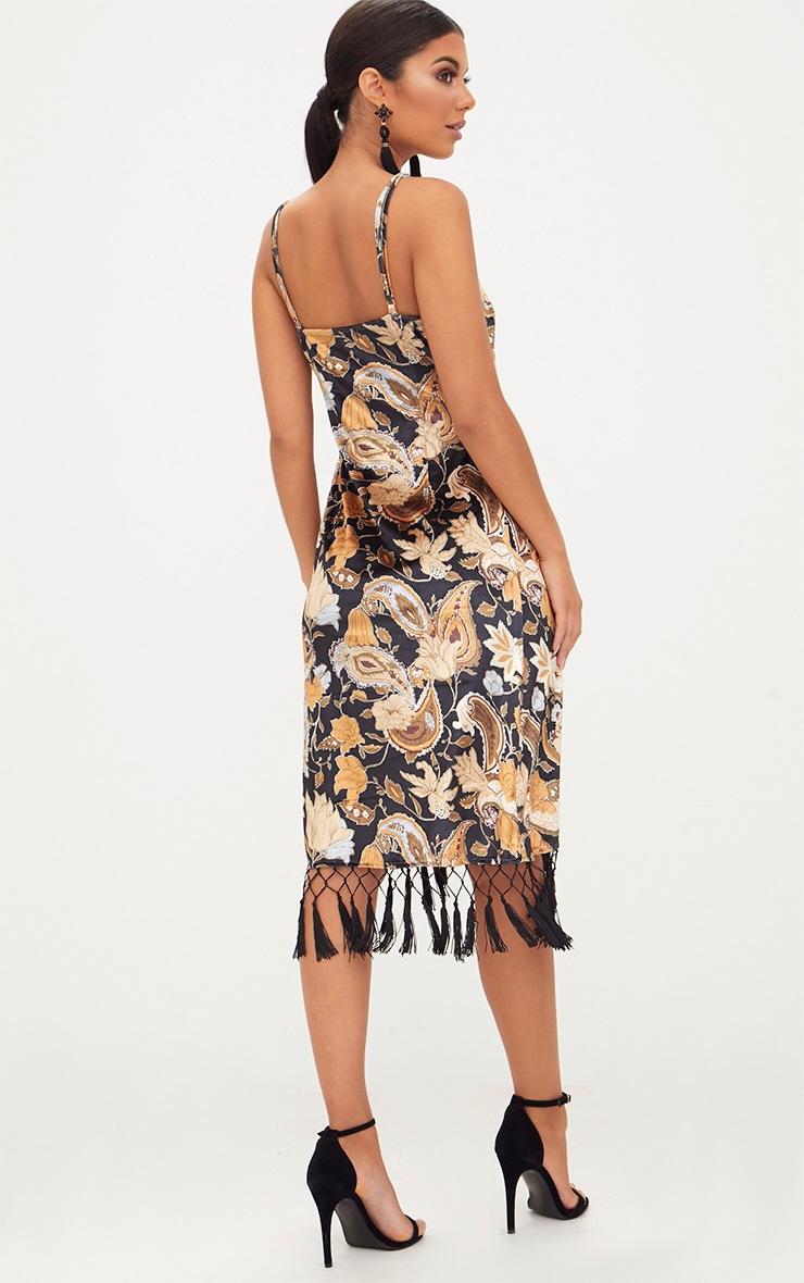 Black Floral Velvet Wrap Over Tassel Trim Midi Dress 2