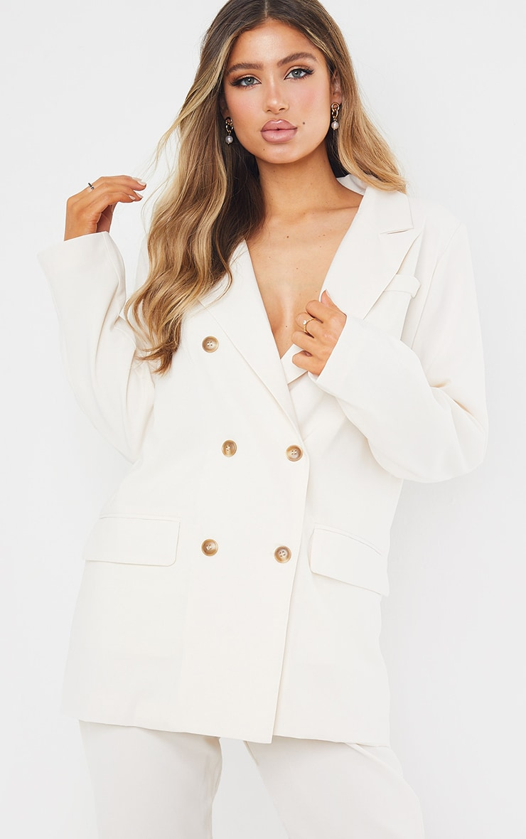 Cream Tailored Woven Blazer image 2