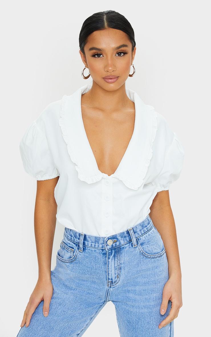 Petite White Oversized Collar Detail Blouse 1