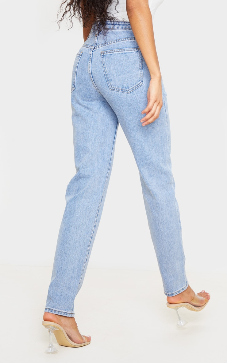 Light Blue Wash Asymmetric Waistband Jeans 3