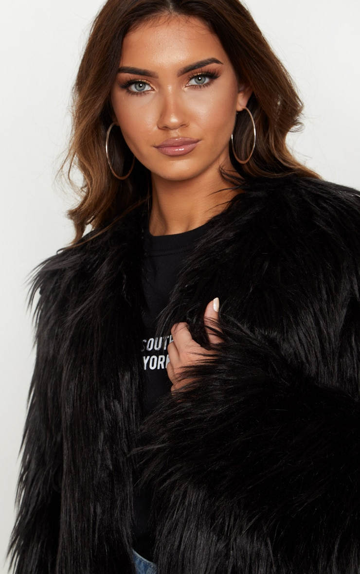 Liddie Black Faux Fur Shaggy Cropped Jacket 5