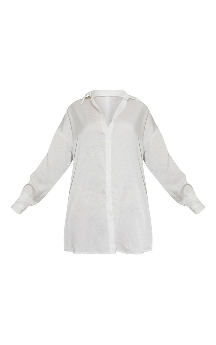 White Textured Twist Cut Out Back Drop Hem Shirt Dress 5