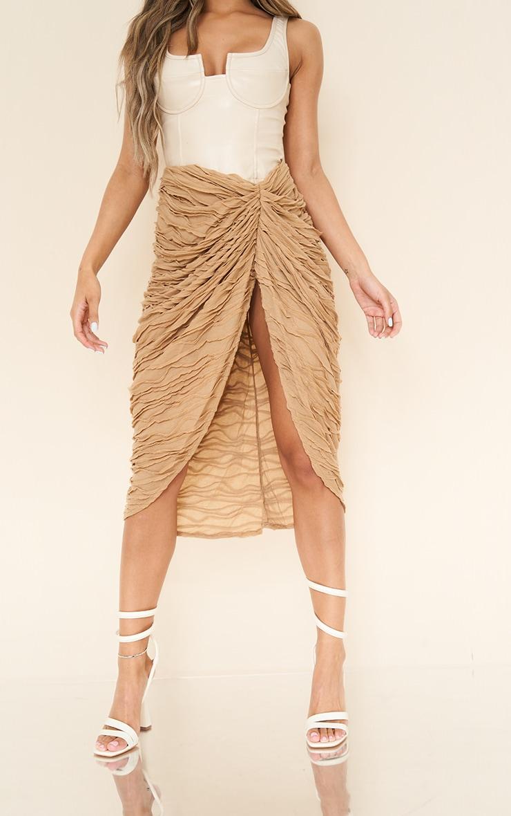 Stone Textured Dip Waist Ruched Midi Skirt 2