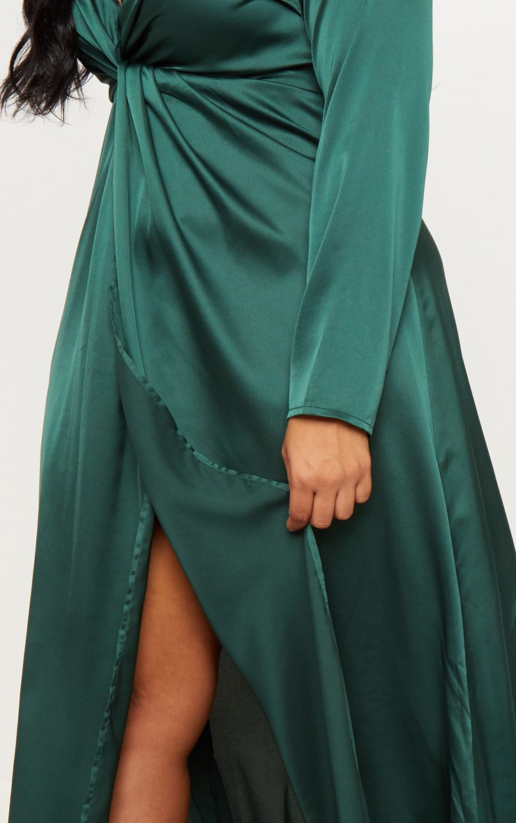 Plus Emerald Green Twist Front Maxi Dress 5