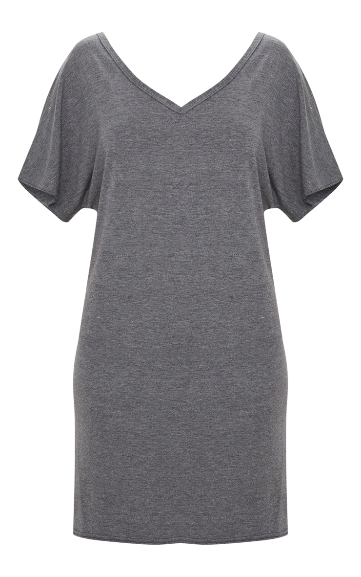 Basic Charcoal V Neck T Shirt Dress 3