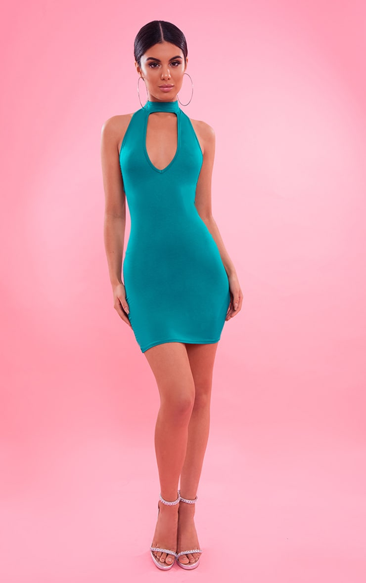 Bright Green High Neck Plunge Bodycon Dress 5