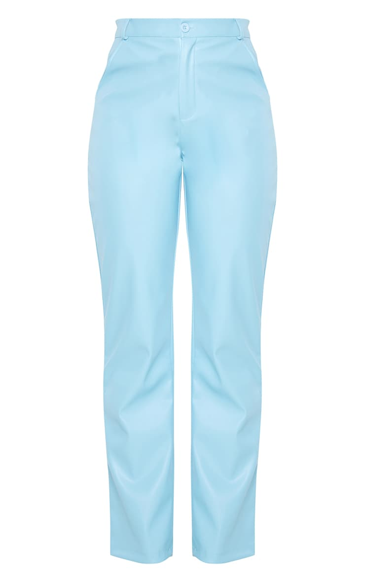 Baby Blue Faux Leather Straight Leg Pants 6