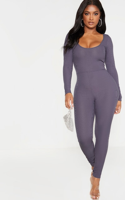 Shape Charcoal Ribbed Long Sleeve Scoop Neck Jumpsuit