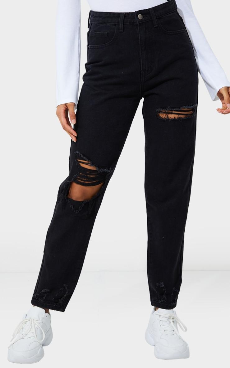 PRETTYLITTLETHING Washed Black Open Knee Distressed Hem Mom Jeans 2