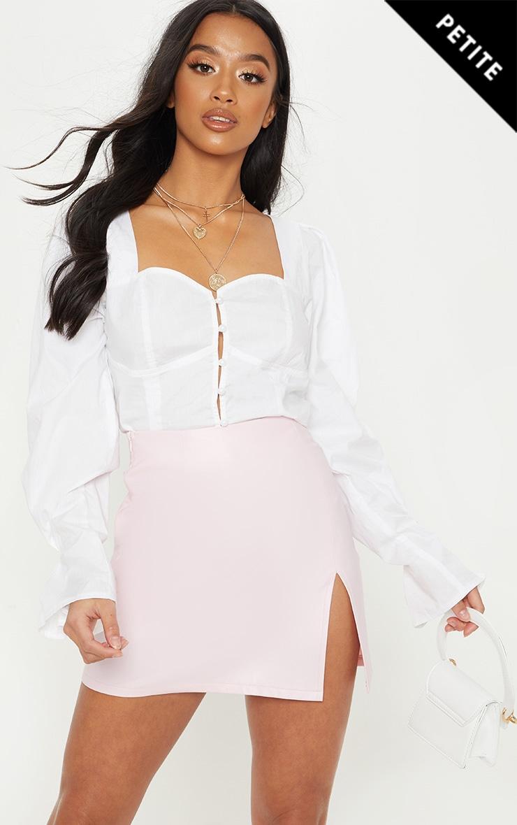 Petite Baby Pink  PU Side Split Mini Skirt 1