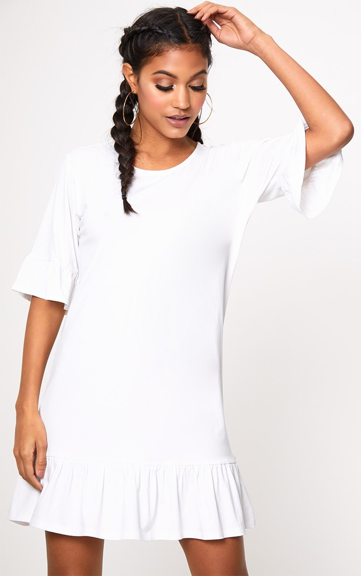 White Jersey Frill Hem Shift Dress 1