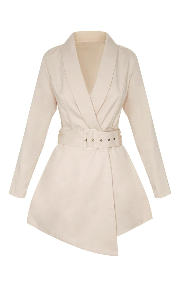 Nude Long Sleeve Tailored Belted Romper 3