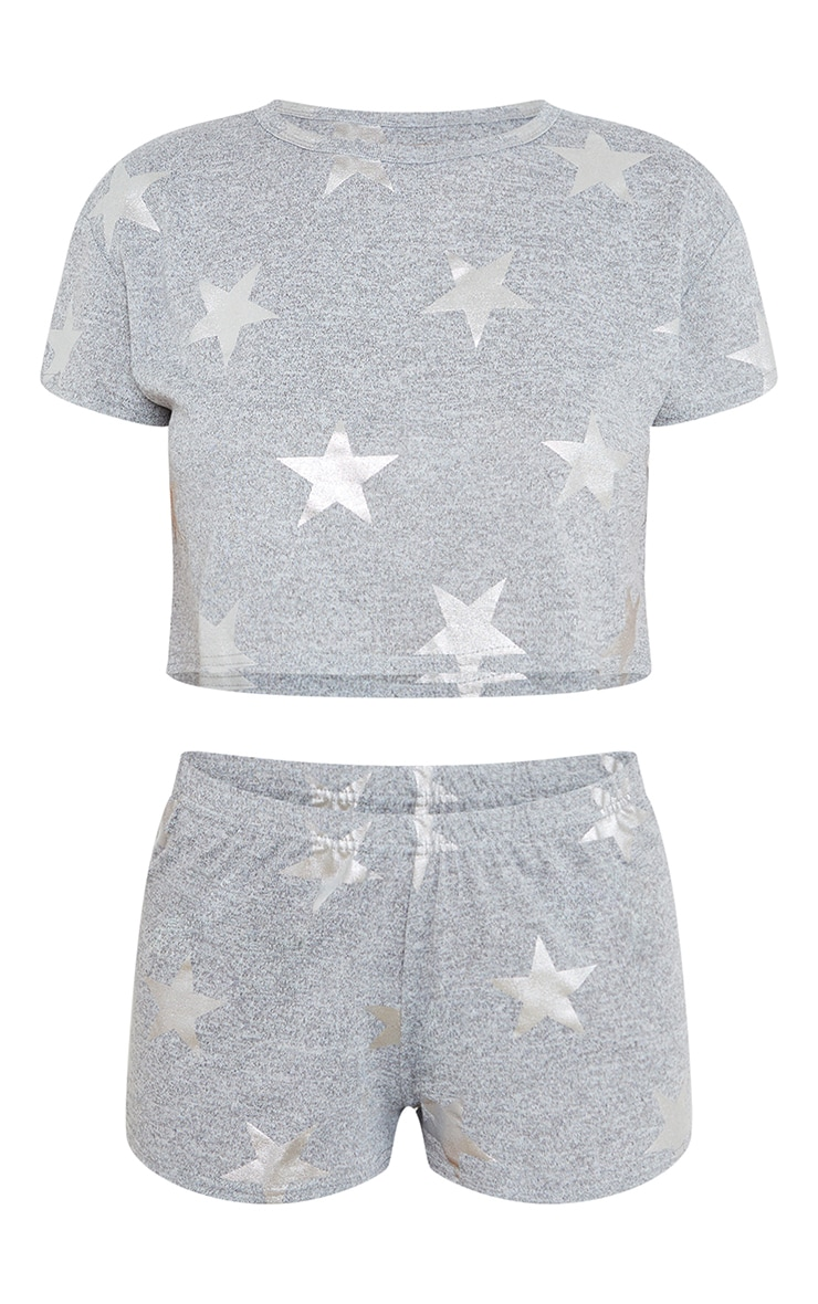 Grey With Silver Stars Printed Short PJ Set 5