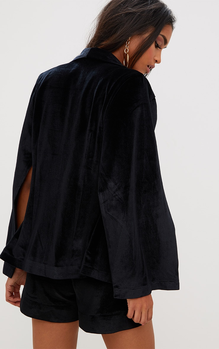 Black Velvet Cape Blazer 2