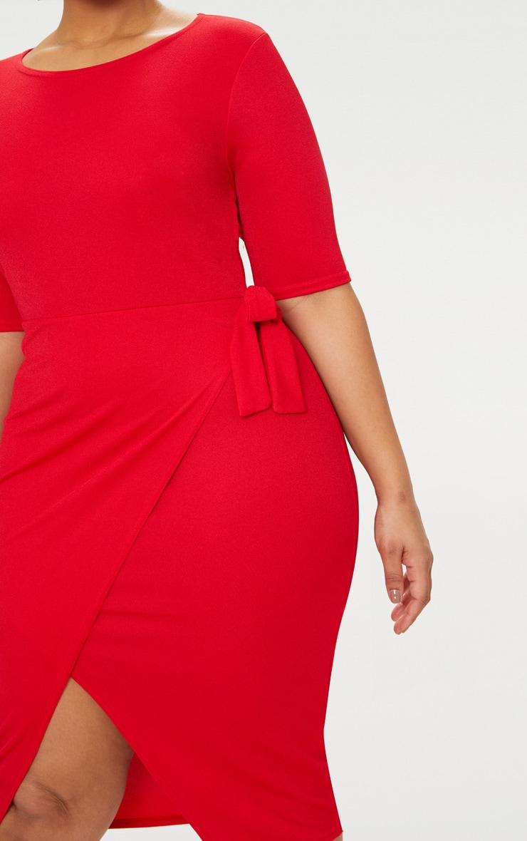 Plus Red Tie Detail Midi Dress 5