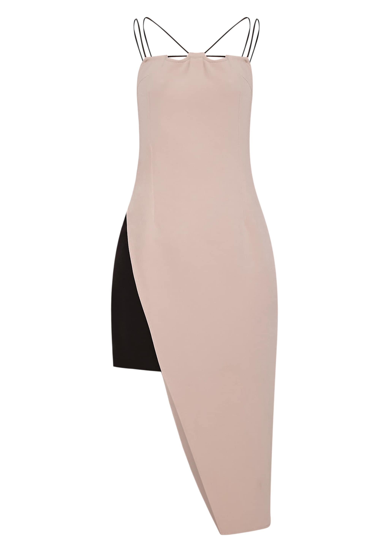 Mirielle Nude Double Strap Asymmetric Bodycon Dress 3