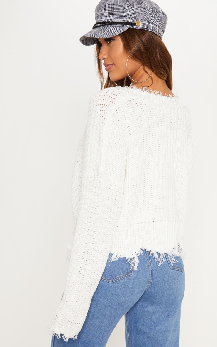 Cream Fringe Hem Knitted Sweater  2