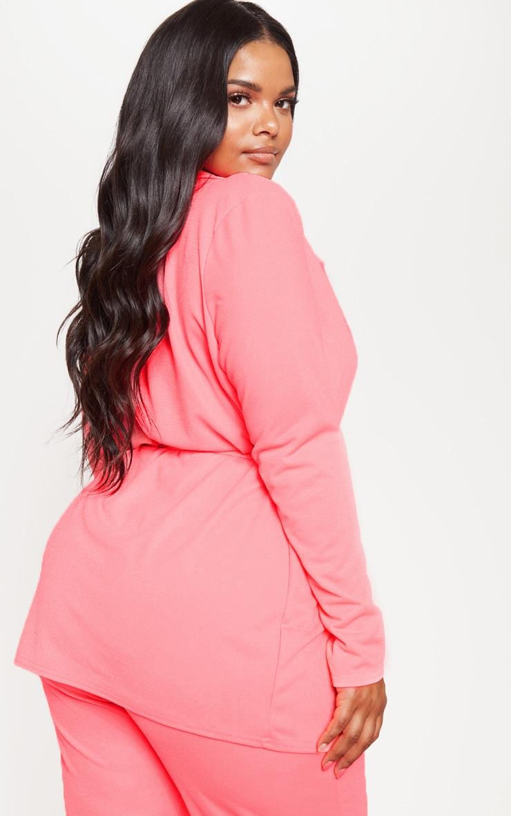 Plus Neon Pink Belt Detail Blazer  2
